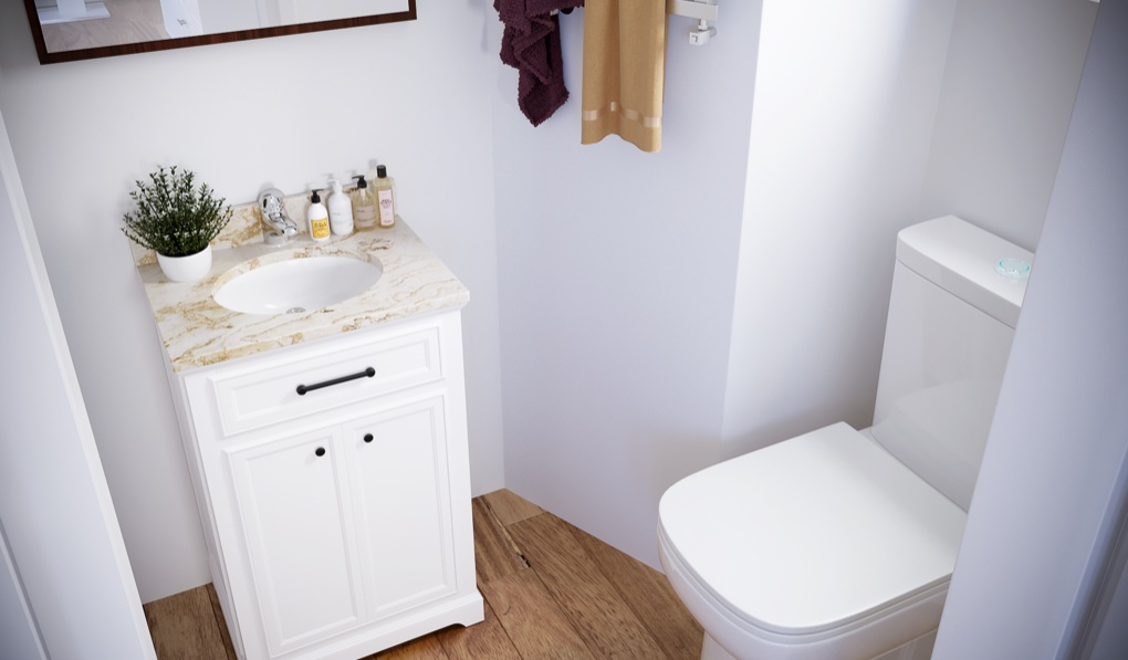 Tiny house toilet - start with one of our off-grid tiny houses for Australia, then add optional extras as needed.
