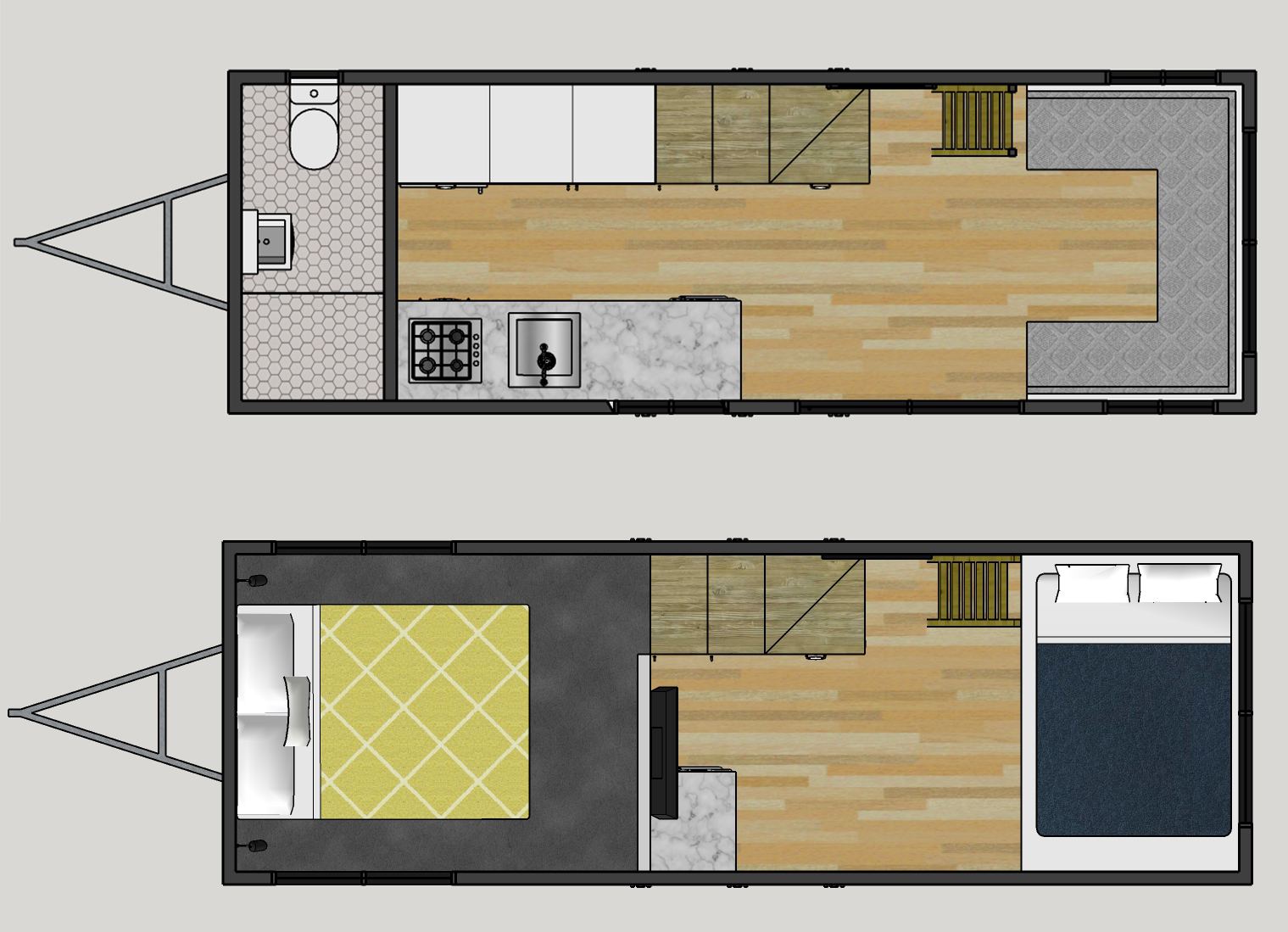 Tiny House NSW floor plans and layout for the Grandaddy tiny home series.
